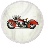 Indian Sport Scout 1940 Round Beach Towel by Mark Rogan