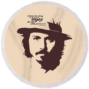 Johnny Depp Minimalist Poster Round Beach Towel by Lab No 4 - The Quotography Department