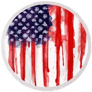 American Spatter Flag Round Beach Towel by Nicklas Gustafsson