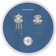 Star Wars - Droid Patent Round Beach Towel by Mark Rogan