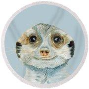 Meerkat Round Beach Towel by Angeles M Pomata