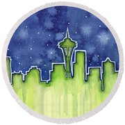 Seattle Night Sky Watercolor Round Beach Towel by Olga Shvartsur