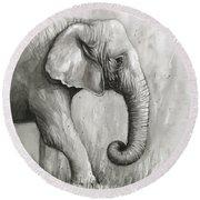 Elephant Watercolor Round Beach Towel by Olga Shvartsur