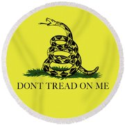 Gadsden Dont Tread On Me Flag Authentic Version Round Beach Towel by Bruce Stanfield