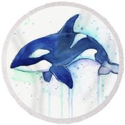 Kiler Whale Watercolor Orca  Round Beach Towel by Olga Shvartsur