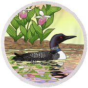 Minnesota State Bird Loon And Flower Ladyslipper Round Beach Towel by Crista Forest