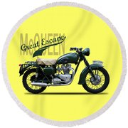 The Great Escape Motorcycle Round Beach Towel by Mark Rogan