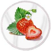 Artz Vitamins A Strawberry Heart Round Beach Towel by Irina Sztukowski