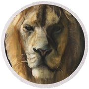 Asiatic Lion Round Beach Towel by Mark Adlington