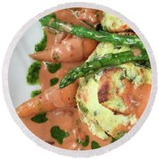 Asparagus Dish Round Beach Towel by Tom Gowanlock