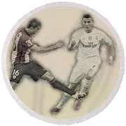 Athletic Club  Vs Real Madrid Round Beach Towel by Don Kuing