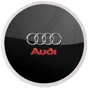 Audi 3 D Badge On Black Round Beach Towel by Serge Averbukh