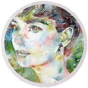 Audrey Hepburn  Watercolor Portrait.4 Round Beach Towel by Fabrizio Cassetta