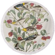 Audubons Warbler Hermit Warbler Black-throated Gray Warbler Round Beach Towel by John James Audubon