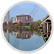 Austin Across Lady Bird Lake Round Beach Towel by Frozen in Time Fine Art Photography