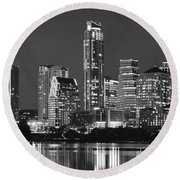 Austin Skyline At Night Black And White Bw Panorama Texas Round Beach Towel by Jon Holiday