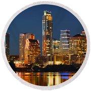 Austin Skyline At Night Color Panorama Texas Round Beach Towel by Jon Holiday