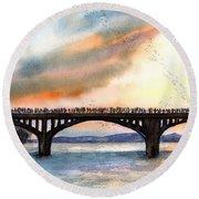 Austin, Tx Congress Bridge Bats Round Beach Towel by Carlin Blahnik