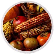 Autumn Harvest  Round Beach Towel by Garry Gay