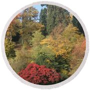Round Beach Towel featuring the photograph Autumn In Baden Baden by Travel Pics