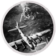 B-17 Bomber Over Germany  Round Beach Towel by War Is Hell Store