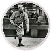 Babe Ruth - Pitcher Boston Red Sox  1915 Round Beach Towel by Daniel Hagerman