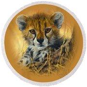 Baby Cheetah  Round Beach Towel by Lucie Bilodeau