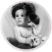 Baby In Coonskin Hat, C.1960s Round Beach Towel by H. Armstrong Roberts/ClassicStock