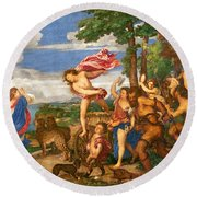Bacchus And Ariadne Round Beach Towel by Titian