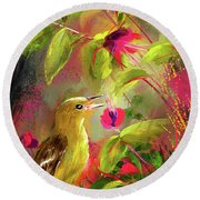 Baltimore Oriole Art- Baltimore Female Oriole Art Round Beach Towel by Lourry Legarde