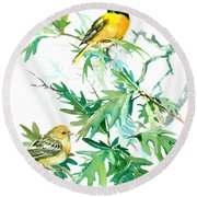 Baltimore Orioles And Oak Tree Round Beach Towel by Suren Nersisyan