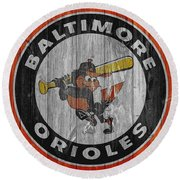 Baltimore Orioles Graphic Barn Door Round Beach Towel by Dan Sproul