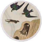 Bank Swallows Round Beach Towel by John James Audubon