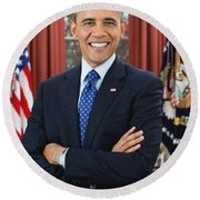 Barack Obama Round Beach Towel by Celestial Images
