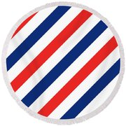 Barber Stripes Round Beach Towel by Julia Jasiczak