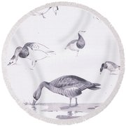 Barnacle And White Fronted Geese Round Beach Towel by Archibald Thorburn