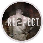Baseball - Derek Jeter Round Beach Towel by Joann Vitali