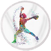 Baseball Softball Pitcher Watercolor Print Round Beach Towel by Svetla Tancheva