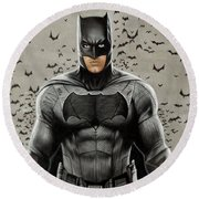 Batman Ben Affleck Round Beach Towel by David Dias