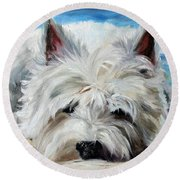 Beach Bum Round Beach Towel by Mary Sparrow