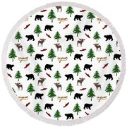 Bear Moose Pattern Round Beach Towel by Christina Rollo