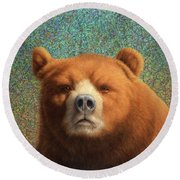 Bearish Round Beach Towel by James W Johnson