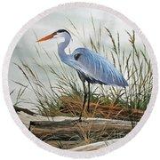 Beautiful Heron Shore Round Beach Towel by James Williamson