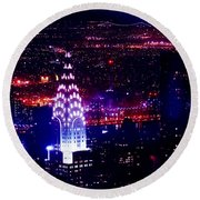 Beautiful Manhattan Skyline Round Beach Towel by Az Jackson