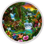 Beautiful Rainforest Round Beach Towel by Gerald Newton