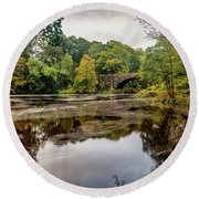 Beaver Bridge Autumn Round Beach Towel by Adrian Evans