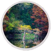 Beavers Bend Trees Round Beach Towel by Inge Johnsson