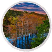 Beavers Bend Twilight Round Beach Towel by Inge Johnsson