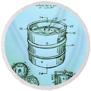 Beer Keg 1994 Patent - Blue Round Beach Towel by Scott D Van Osdol