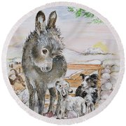 Best Friends Round Beach Towel by Diane Matthes